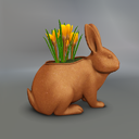 Multicolor Crocus Mesh Easter Bunny Pot
