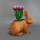 Multicolor Tulips Mesh Easter Bunny Pot