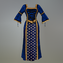 Blue Fleur de Lis Fitmesh Medieval Dress