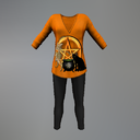 Orange Halloween Pentacle Maitreya Tunic Outfit