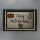 Hallothanksmas Mesh Framed Wall Art