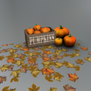 Crate of Mesh Pumpkins with Leaves