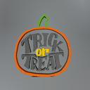 Multicolor Trick or Treat Pumpkin Wooden Mesh Yard Sign